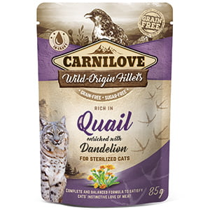 Carnilove Cat Pouch Rich in Quail With Dandelion for Sterilised 85 g